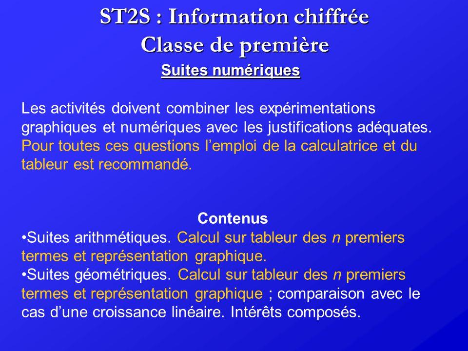 ST2S : Information chiffrée Classe de première Suites numériques Les activités doivent combiner les expérimentations graphiques et numériques avec les