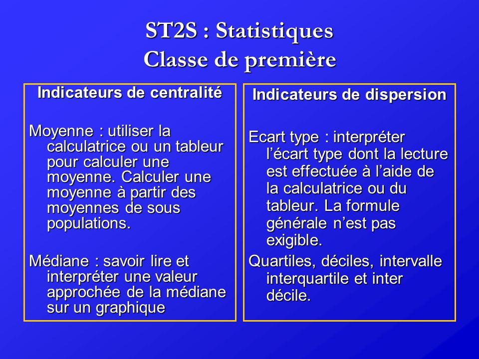 ST2S : Statistiques Classe de première Indicateurs de centralité Moyenne:utiliser la calculatrice ou un tableur pour calculer une moyenne. Calculer un