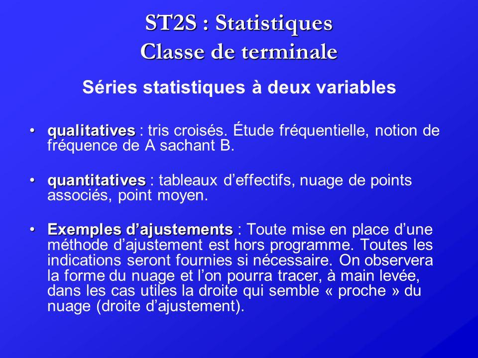 ST2S : Statistiques Classe de terminale Séries statistiques à deux variables qualitativesqualitatives : tris croisés. Étude fréquentielle, notion de f