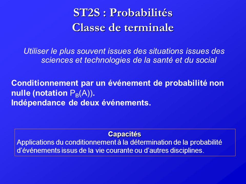 ST2S : Probabilités Classe de terminale Utiliser le plus souvent issues des situations issues des sciences et technologies de la santé et du social Co