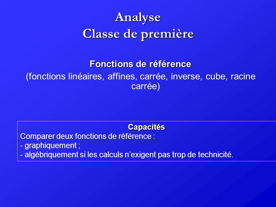 Analyse Classe de première Fonctions de référence (fonctions linéaires, affines, carrée, inverse, cube, racine carrée) Capacités Comparer deux fonctio