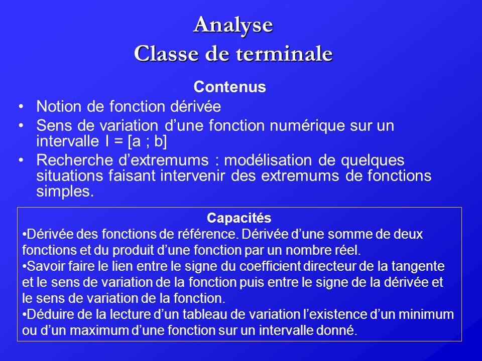 Analyse Classe de terminale Contenus Notion de fonction dérivée Sens de variation dune fonction numérique sur un intervalle I = [a ; b] Recherche dext