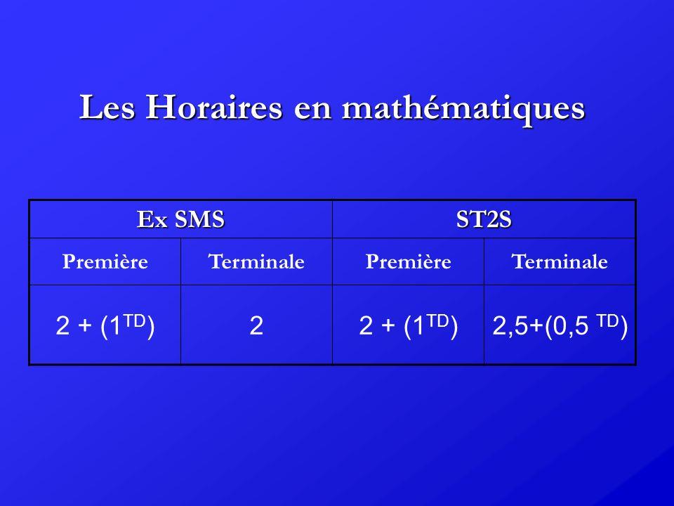Les Horaires en mathématiques Ex SMS ST2S PremièreTerminalePremièreTerminale 2 + (1 TD )2 2,5+(0,5 TD )