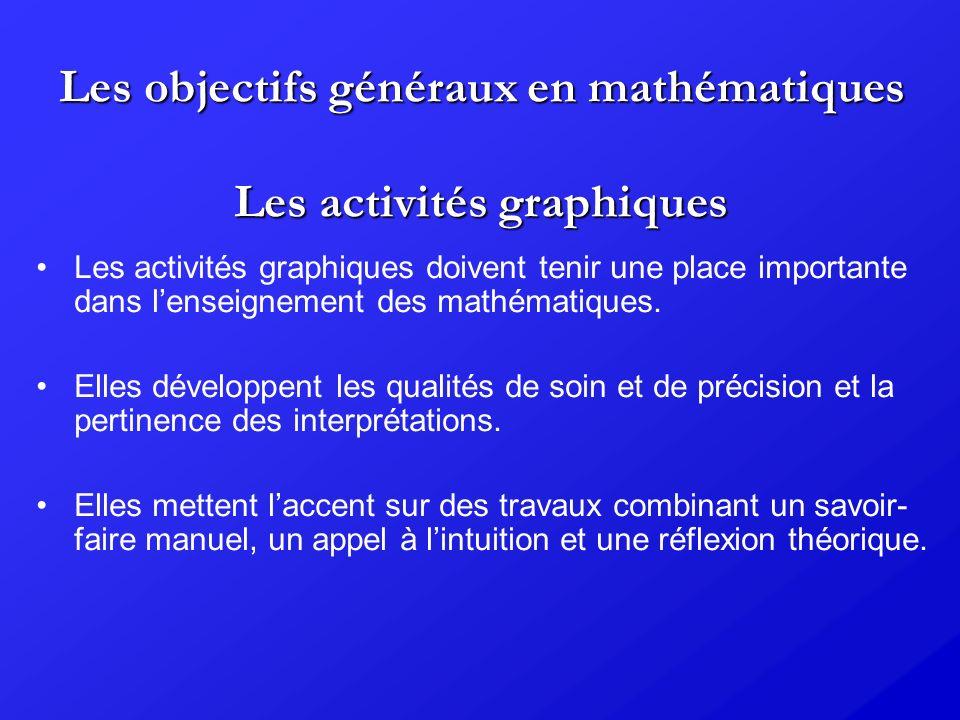 Les objectifs généraux en mathématiques Les activités graphiques Les activités graphiques doivent tenir une place importante dans lenseignement des ma