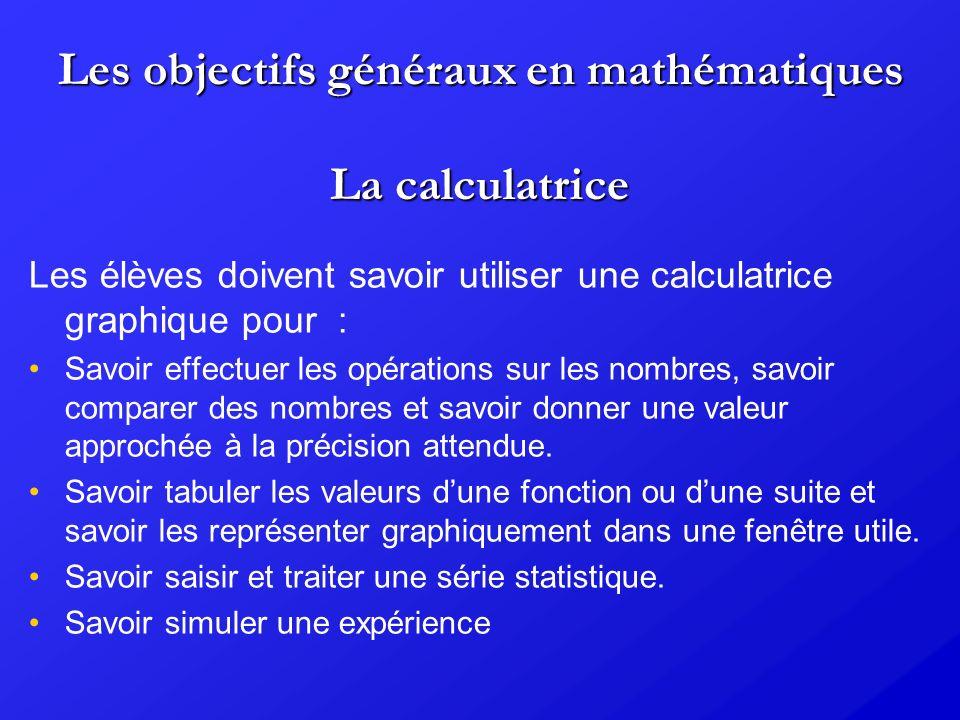 Les objectifs généraux en mathématiques Deux aspects du lien entre mathématiques et informatique sont mis en avant : Lélève doit apprendre à situer et intégrer lusage des outils informatiques dans une démarche scientifique.