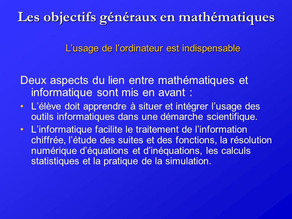 Les objectifs généraux en mathématiques Deux aspects du lien entre mathématiques et informatique sont mis en avant : Lélève doit apprendre à situer et