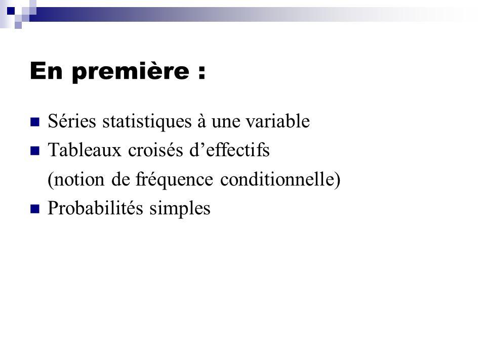 En première : Séries statistiques à une variable Tableaux croisés deffectifs (notion de fréquence conditionnelle) Probabilités simples