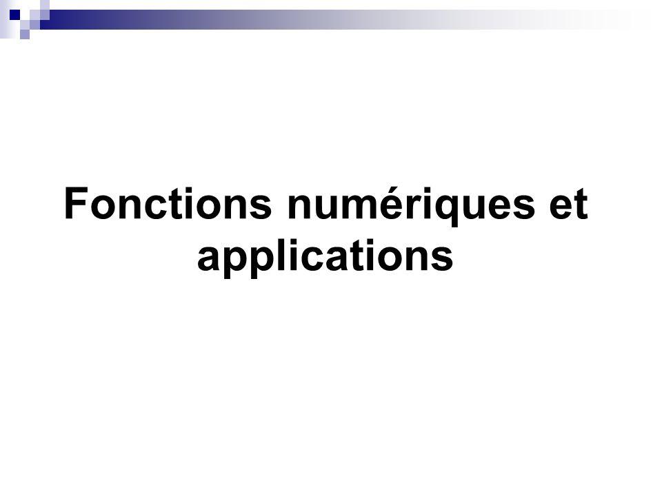 Fonctions numériques et applications