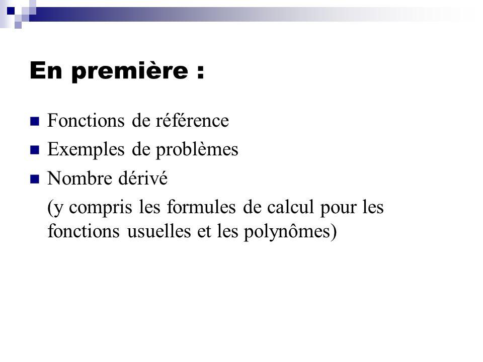 En première : Fonctions de référence Exemples de problèmes Nombre dérivé (y compris les formules de calcul pour les fonctions usuelles et les polynôme