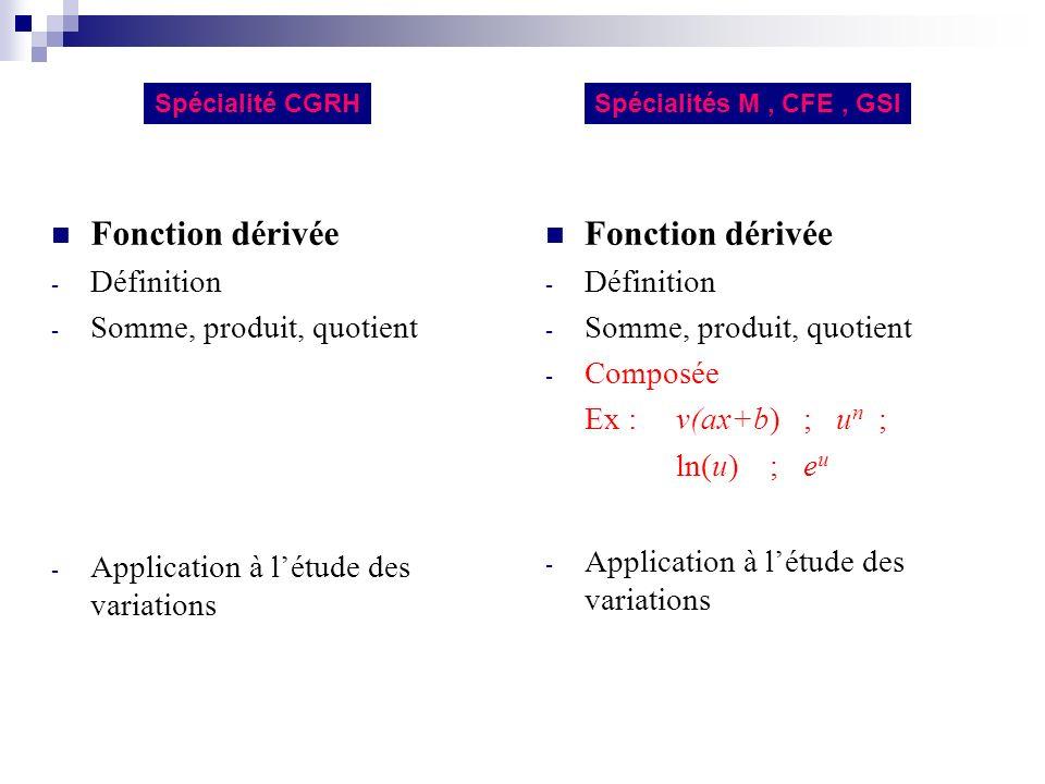 Fonction logarithme népérien - Définition par et ln(1) = 0 (pour x > 0) - Sens de variation, signe, représentation graphique - Transformation de produits en sommes Spécialités M, CFE, GSISpécialité CGRH