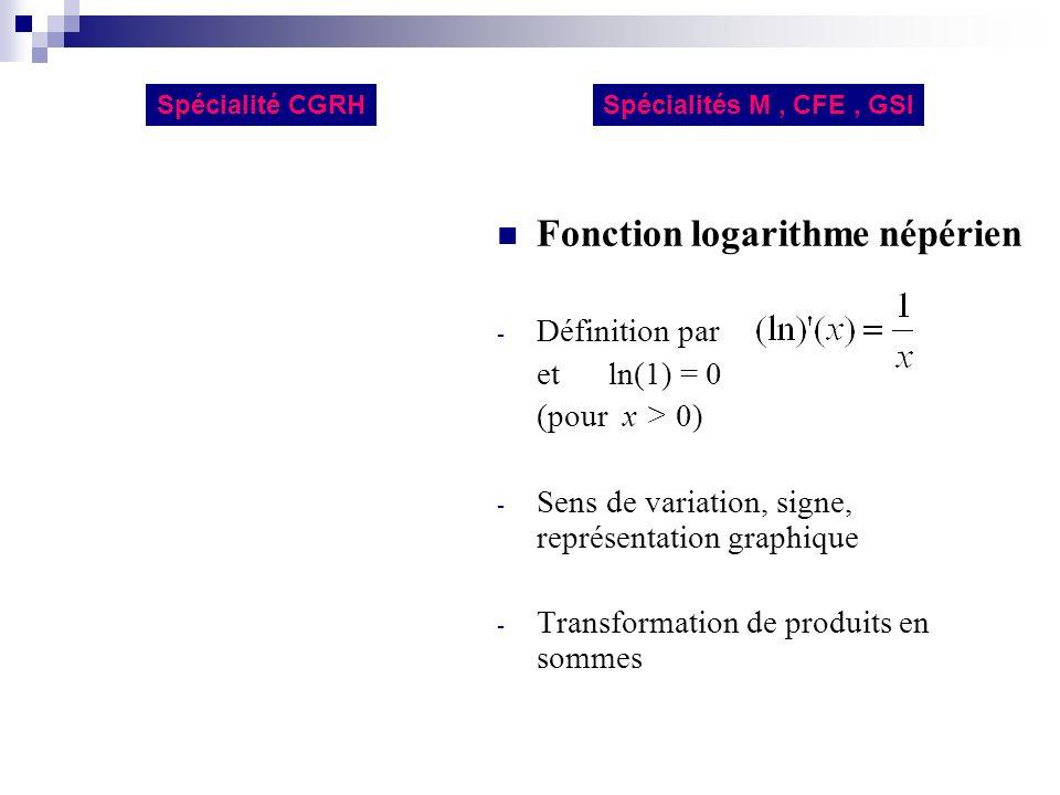 Fonction logarithme népérien - Définition par et ln(1) = 0 (pour x > 0) - Sens de variation, signe, représentation graphique - Transformation de produ