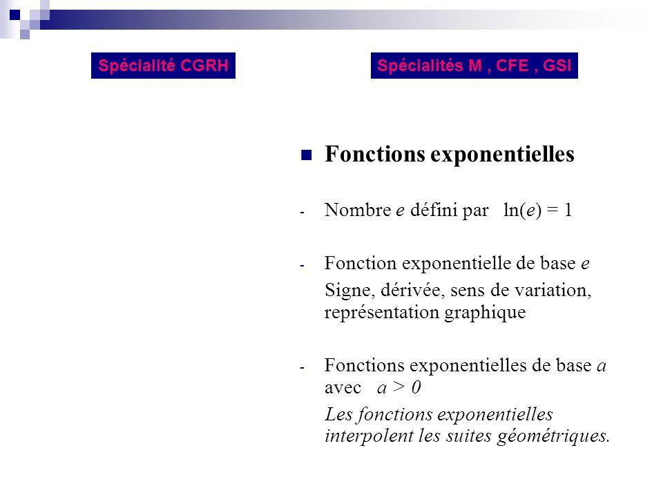 Fonctions exponentielles - Nombre e défini par ln(e) = 1 - Fonction exponentielle de base e Signe, dérivée, sens de variation, représentation graphiqu