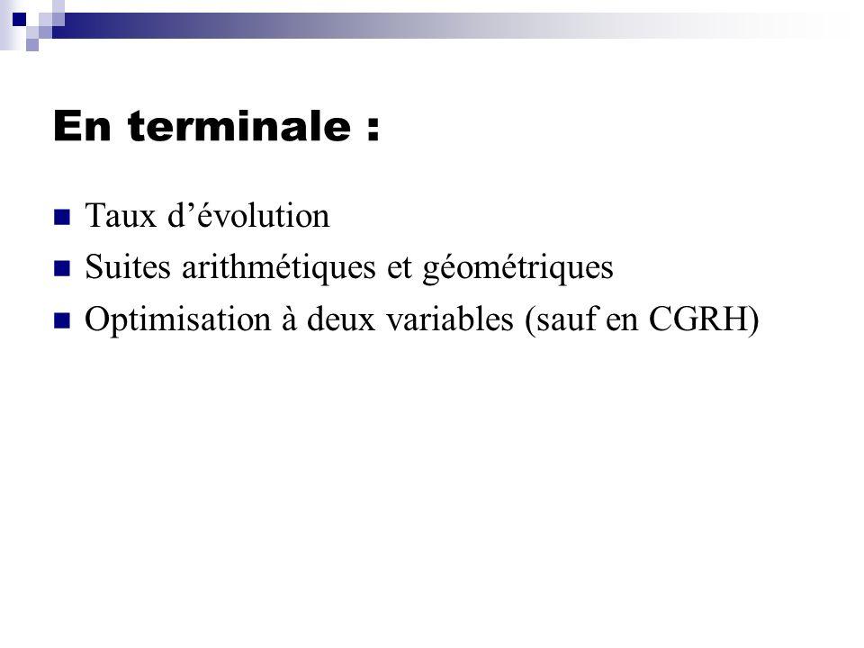 Taux dévolution - Taux moyen, moyenne géométrique - Indice simple en base 100 - Approximation dun taux dévolution Suites arithmétiques et géométriques - Comparaison de suites - Sommes de termes consécutifs - Sens de variation et limite dune suite géométrique de raison positive et de premier terme positif Optimisation à deux variables - Droite déquation ax + by = c - Régionnement du plan - Programmation linéaire Spécialités M, CFE, GSISpécialité CGRH Taux dévolution - Taux moyen, moyenne géométrique - Indice simple en base 100 - Approximation dun taux dévolution Suites arithmétiques et géométriques - Comparaison de suites - Sommes de termes consécutifs