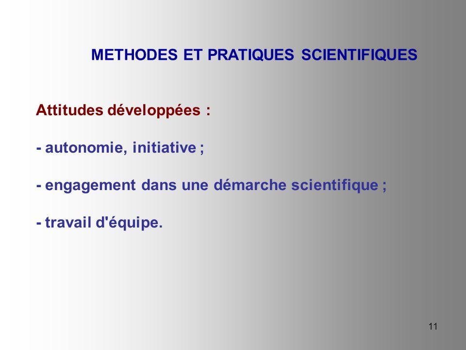 11 Attitudes développées : - autonomie, initiative ; - engagement dans une démarche scientifique ; - travail d'équipe. METHODES ET PRATIQUES SCIENTIFI