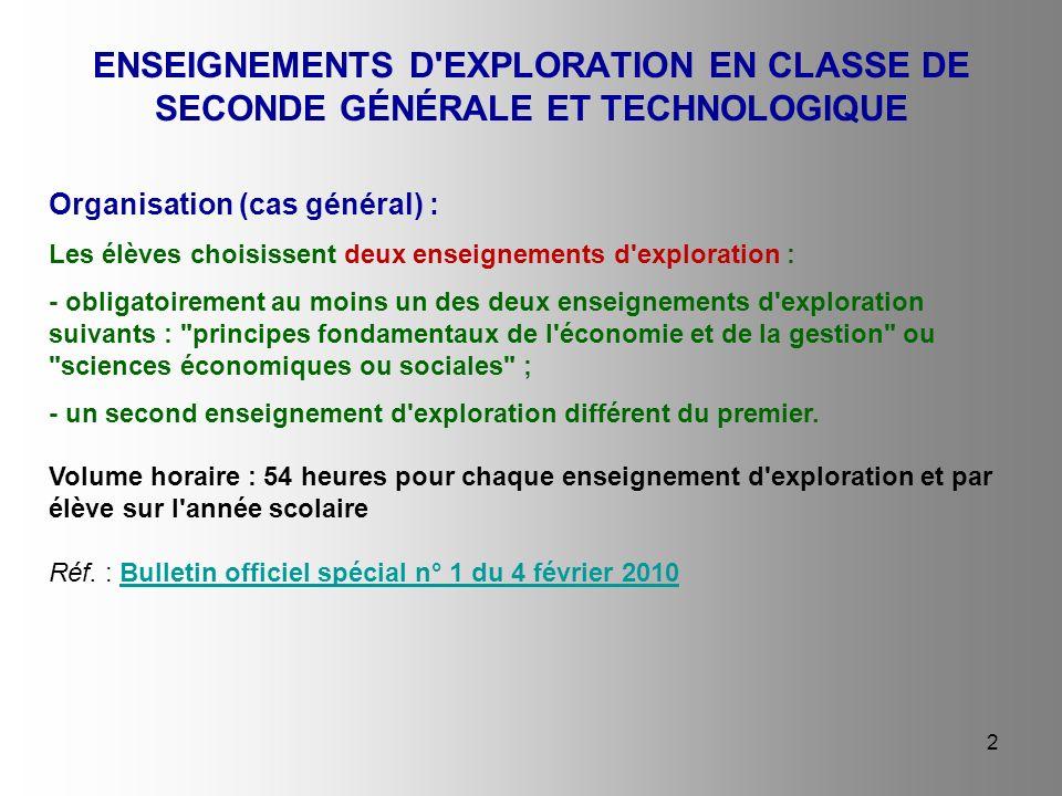 2 ENSEIGNEMENTS D'EXPLORATION EN CLASSE DE SECONDE GÉNÉRALE ET TECHNOLOGIQUE Organisation (cas général) : Les élèves choisissent deux enseignements d'