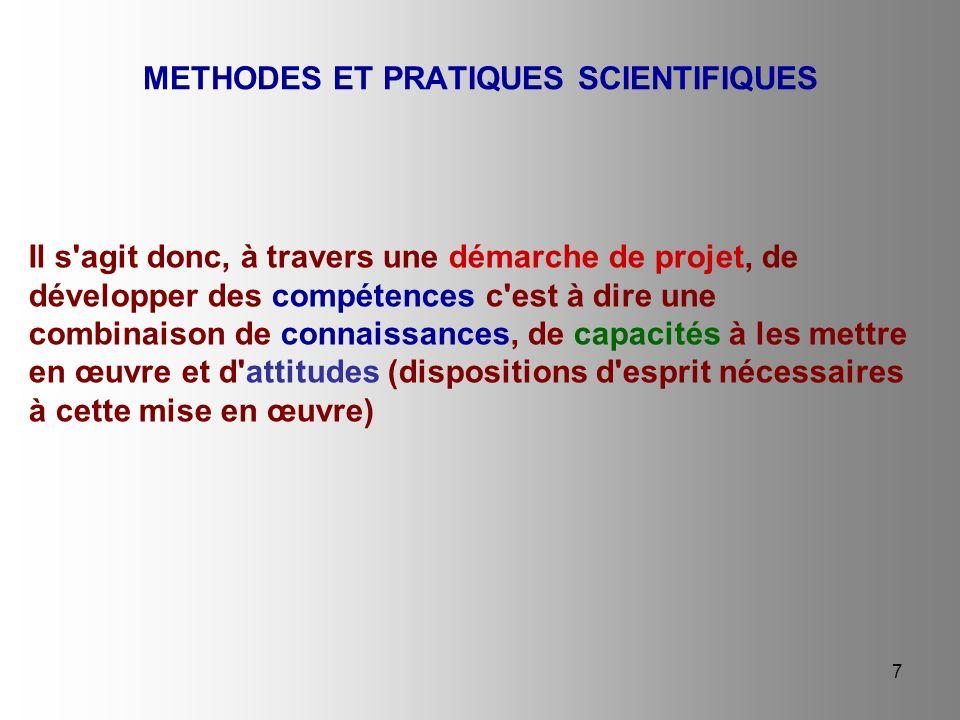 8 La démarche de projet : développer des compétences en utilisant une démarche scientifique autour d un projet collectif METHODES ET PRATIQUES SCIENTIFIQUES Le projet est une activité pratique signifiante, à valeur éducative, visant un ou plusieurs objectifs de compréhension précis.