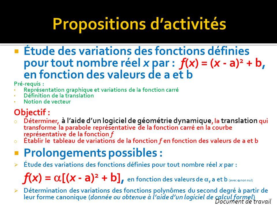 Étude des variations des fonctions définies pour tout nombre réel x par : f(x) = (x - a) 2 + b, en fonction des valeurs de a et b Pré-requis : Représe