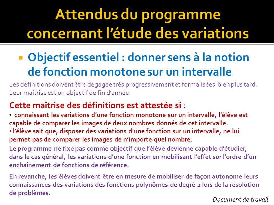Objectif essentiel : donner sens à la notion de fonction monotone sur un intervalle Les définitions doivent être dégagée très progressivement et forma