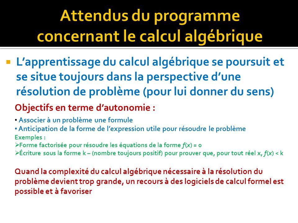 Lapprentissage du calcul algébrique se poursuit et se situe toujours dans la perspective dune résolution de problème (pour lui donner du sens) Objecti