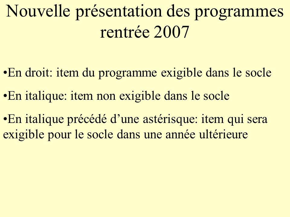 Nouvelle présentation des programmes rentrée 2007 En droit: item du programme exigible dans le socle En italique: item non exigible dans le socle En i