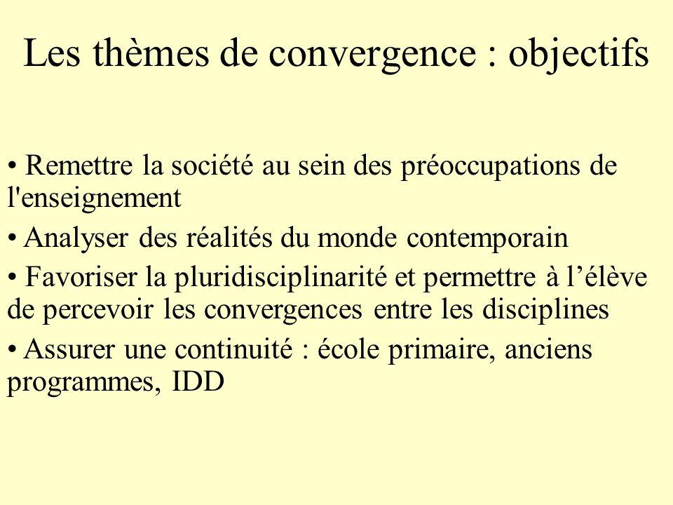 Remettre la société au sein des préoccupations de l'enseignement Analyser des réalités du monde contemporain Favoriser la pluridisciplinarité et perme