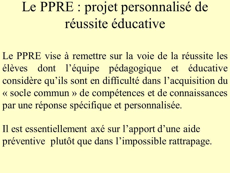 Le PPRE : projet personnalisé de réussite éducative Le PPRE vise à remettre sur la voie de la réussite les élèves dont léquipe pédagogique et éducativ