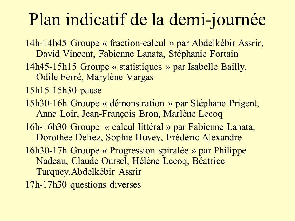 Plan indicatif de la demi-journée 14h-14h45 Groupe « fraction-calcul » par Abdelkébir Assrir, David Vincent, Fabienne Lanata, Stéphanie Fortain 14h45-