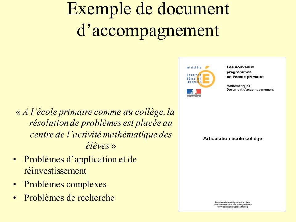 Exemple de document daccompagnement « A lécole primaire comme au collège, la résolution de problèmes est placée au centre de lactivité mathématique de