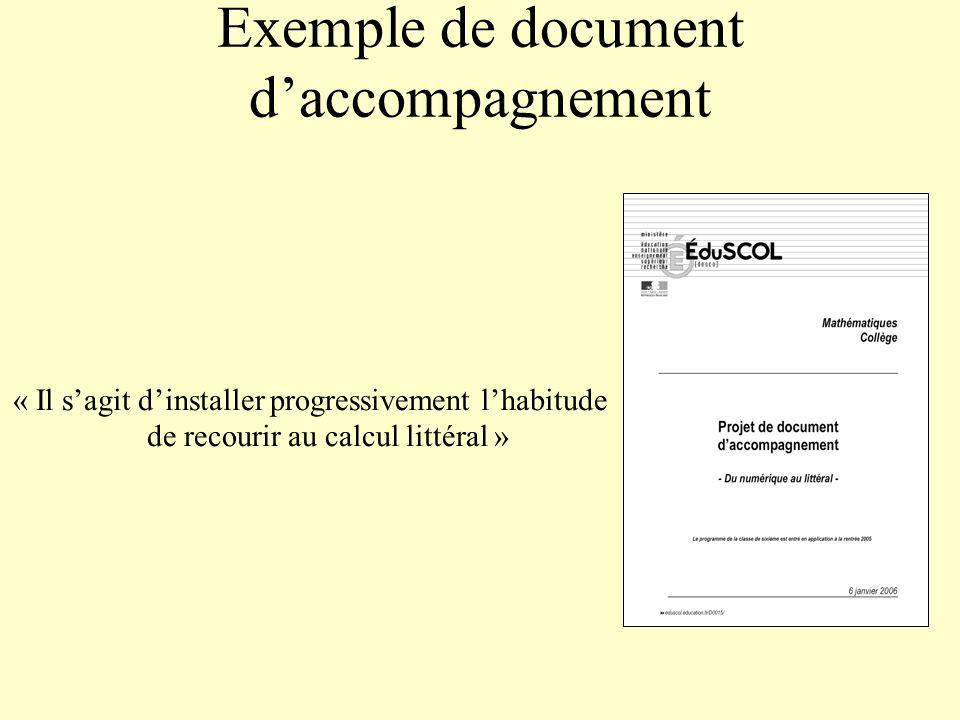 Exemple de document daccompagnement « Il sagit dinstaller progressivement lhabitude de recourir au calcul littéral »
