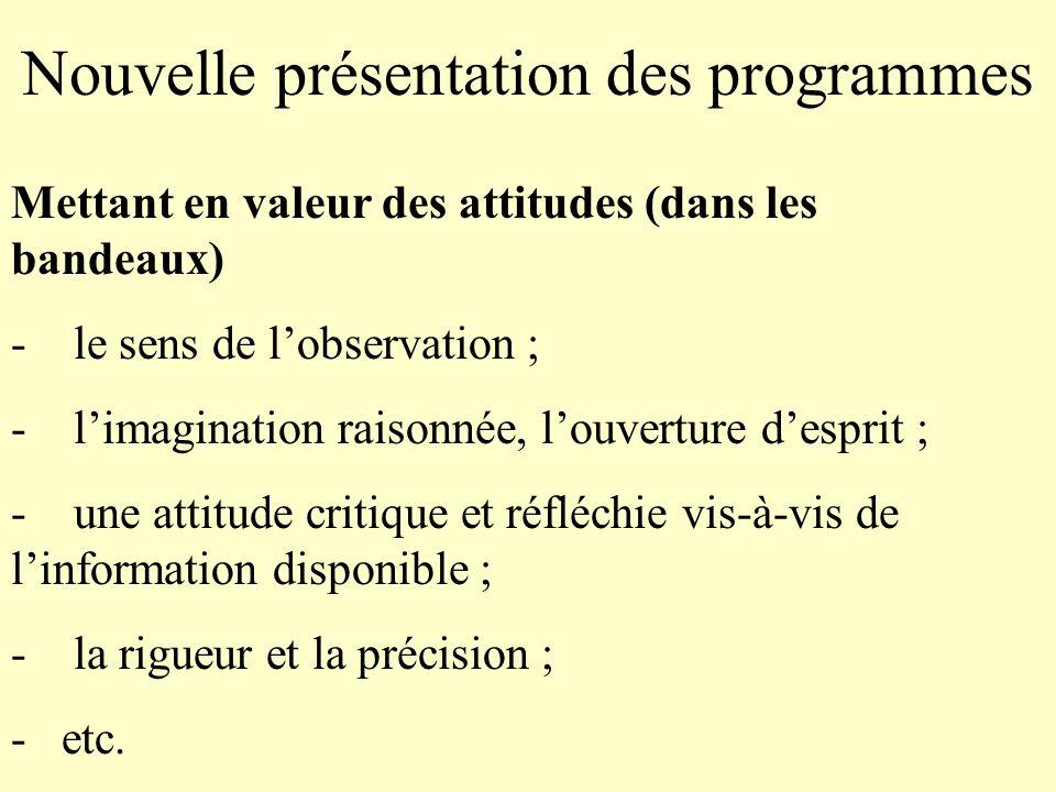 Nouvelle présentation des programmes Mettant en valeur des attitudes (dans les bandeaux) - le sens de lobservation ; - limagination raisonnée, louvert