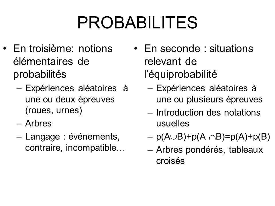 PROBABILITES En troisième: notions élémentaires de probabilités –Expériences aléatoires à une ou deux épreuves (roues, urnes) –Arbres –Langage : événe