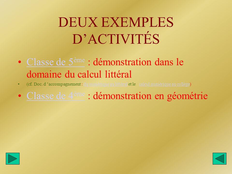 DEUX EXEMPLES DACTIVITÉS Classe de 5 ème : démonstration dans le domaine du calcul littéralClasse de 5 ème (cf. Doc. d accompagnement : du numérique a