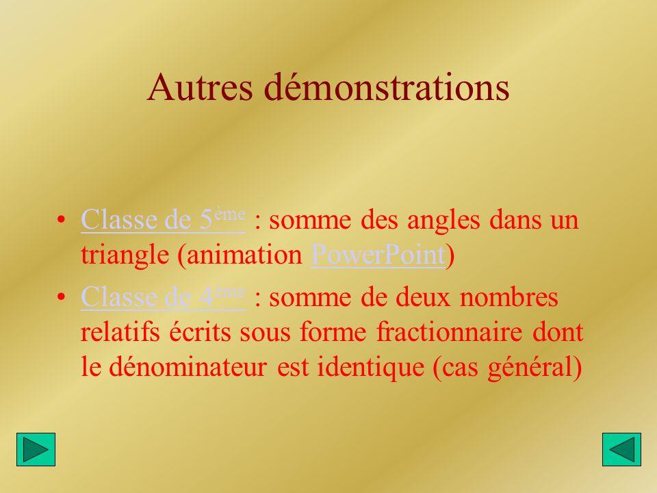 Autres démonstrations Classe de 5 ème : somme des angles dans un triangle (animation PowerPoint)Classe de 5 èmePowerPoint Classe de 4 ème : somme de d