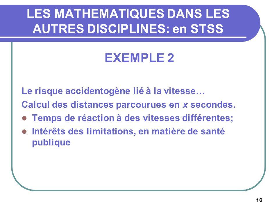 16 LES MATHEMATIQUES DANS LES AUTRES DISCIPLINES: en STSS EXEMPLE 2 Le risque accidentogène lié à la vitesse… Calcul des distances parcourues en x secondes.