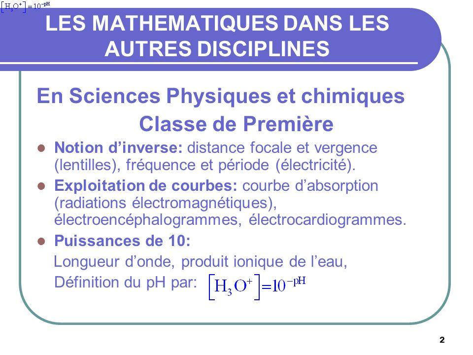 2 LES MATHEMATIQUES DANS LES AUTRES DISCIPLINES En Sciences Physiques et chimiques Classe de Première Notion dinverse: distance focale et vergence (lentilles), fréquence et période (électricité).
