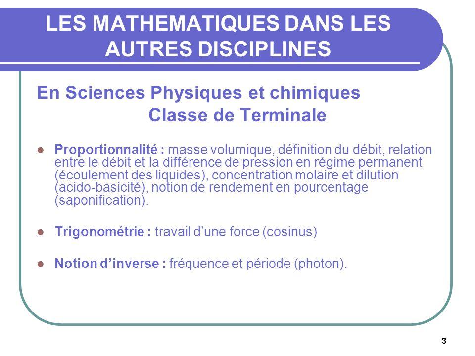 3 LES MATHEMATIQUES DANS LES AUTRES DISCIPLINES En Sciences Physiques et chimiques Classe de Terminale Proportionnalité : masse volumique, définition