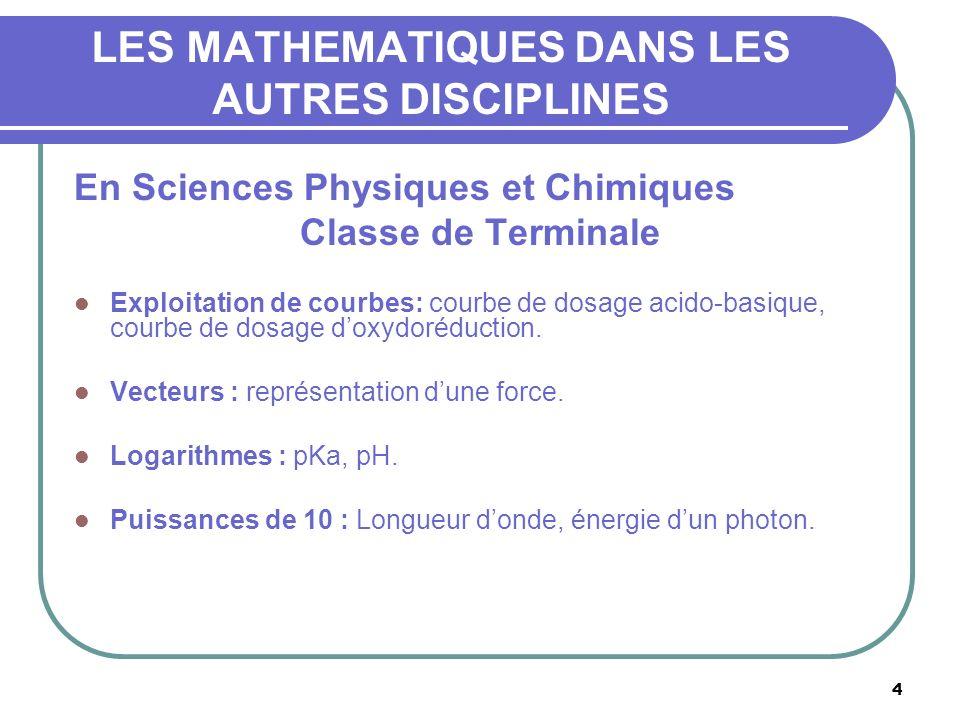 4 LES MATHEMATIQUES DANS LES AUTRES DISCIPLINES En Sciences Physiques et Chimiques Classe de Terminale Exploitation de courbes: courbe de dosage acido