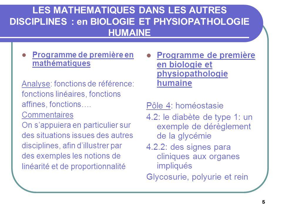 5 LES MATHEMATIQUES DANS LES AUTRES DISCIPLINES : en BIOLOGIE ET PHYSIOPATHOLOGIE HUMAINE Programme de première en mathématiques Analyse: fonctions de