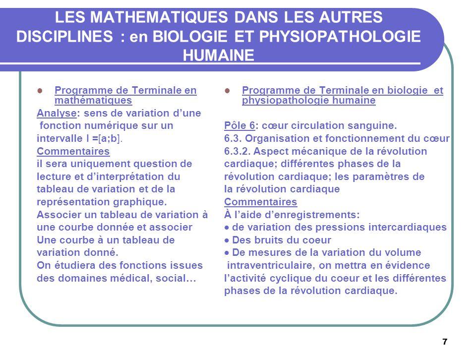 7 LES MATHEMATIQUES DANS LES AUTRES DISCIPLINES : en BIOLOGIE ET PHYSIOPATHOLOGIE HUMAINE Programme de Terminale en mathématiques Analyse: sens de variation dune fonction numérique sur un intervalle I =[a;b].