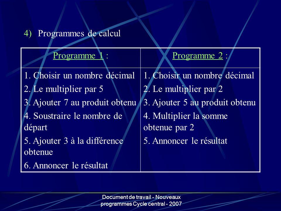Document de travail - Nouveaux programmes Cycle central - 2007 Programme 1 :Programme 2 : 1. Choisir un nombre décimal 2. Le multiplier par 5 3. Ajout