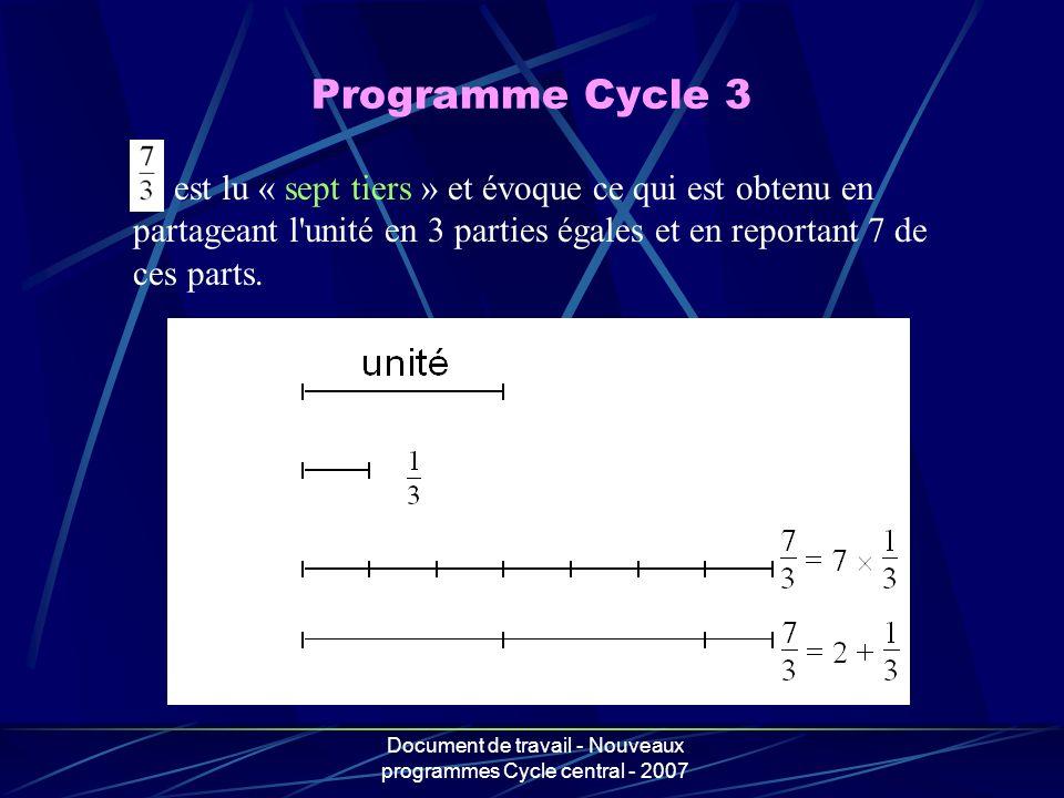Document de travail - Nouveaux programmes Cycle central - 2007 est lu « sept tiers » et évoque ce qui est obtenu en partageant l'unité en 3 parties ég
