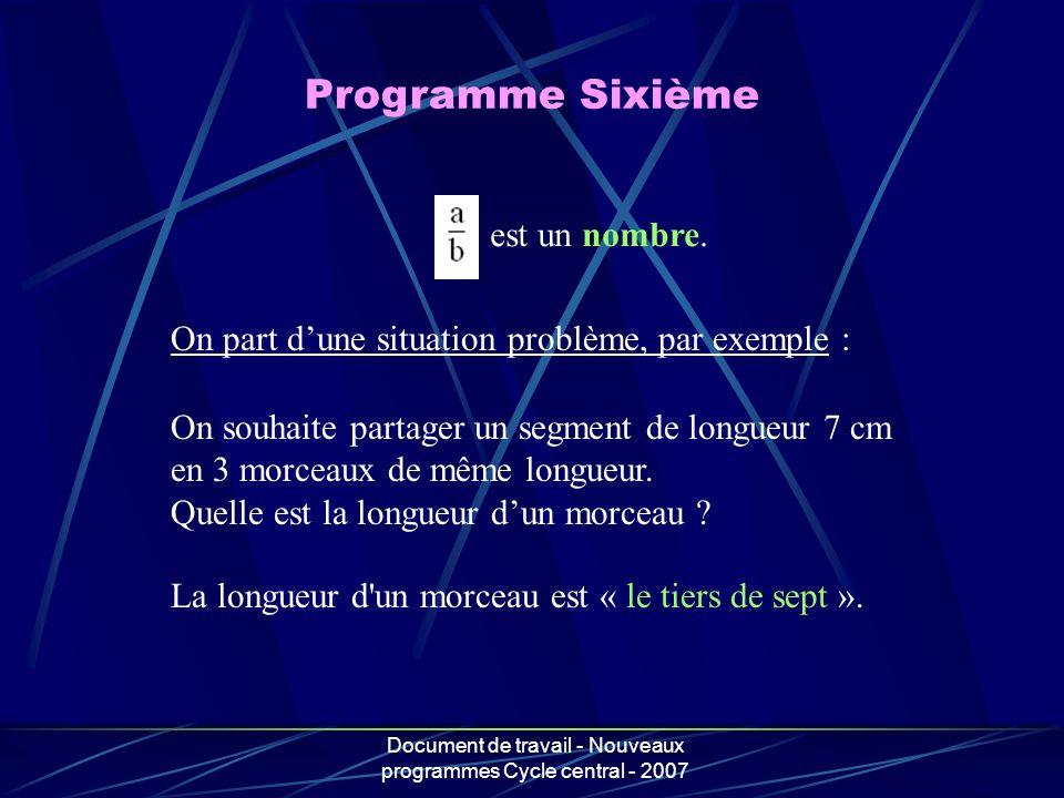 Document de travail - Nouveaux programmes Cycle central - 2007 est un nombre. On part dune situation problème, par exemple : On souhaite partager un s