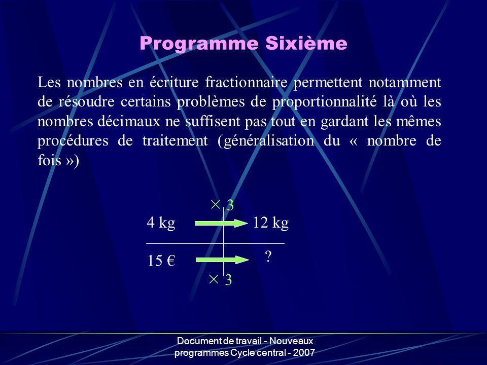 Document de travail - Nouveaux programmes Cycle central - 2007 Les nombres en écriture fractionnaire permettent notamment de résoudre certains problèm