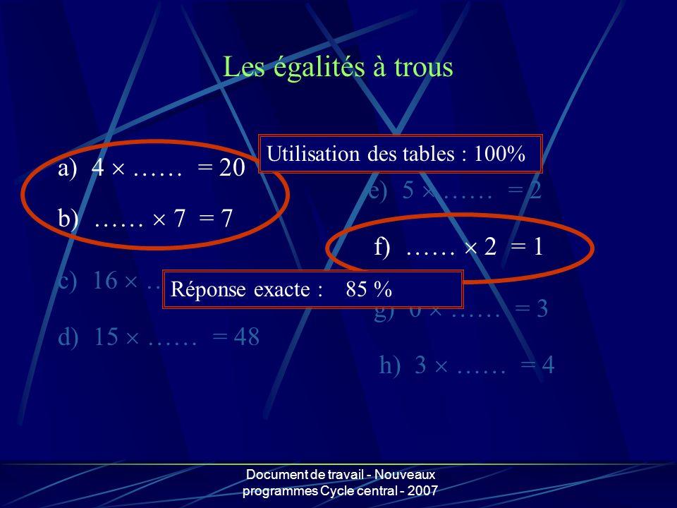 Document de travail - Nouveaux programmes Cycle central - 2007 a) 4 …… = 20 b) …… 7 = 7 c) 16 …… = 432 d) 15 …… = 48 e) 5 …… = 2 f) …… 2 = 1 g) 0 …… =