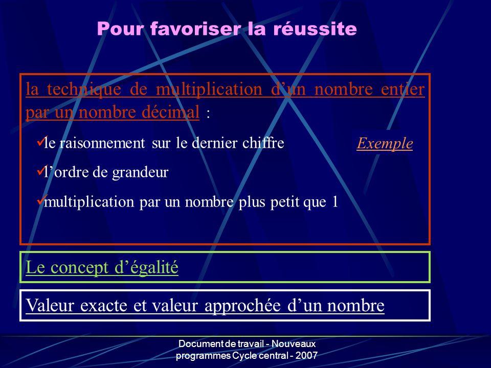 Document de travail - Nouveaux programmes Cycle central - 2007 Pour favoriser la réussite la technique de multiplication dun nombre entier par un nomb