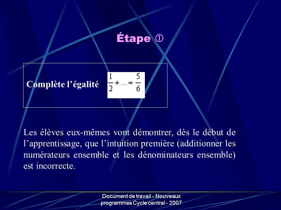 Document de travail - Nouveaux programmes Cycle central - 2007 Étape Complète légalité Les élèves eux-mêmes vont démontrer, dès le début de lapprentis