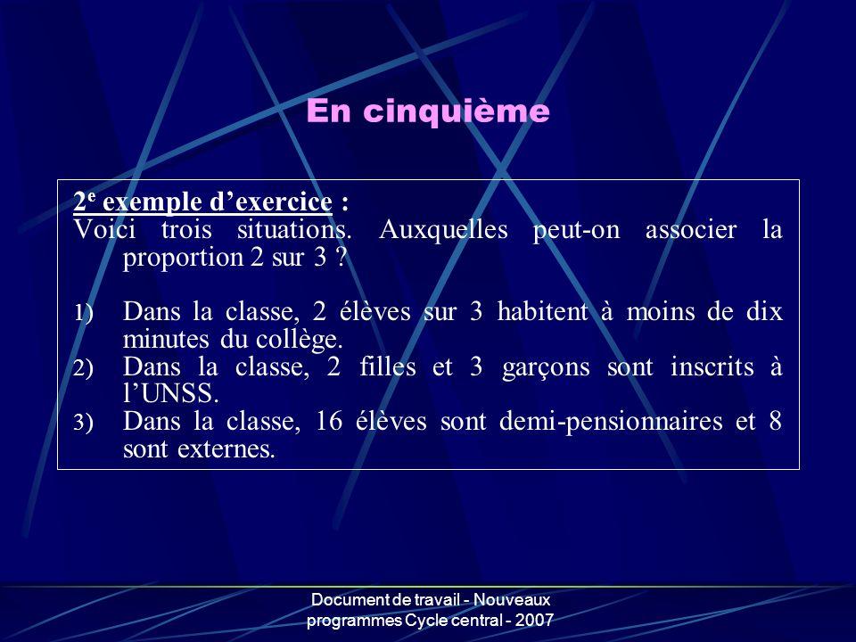 Document de travail - Nouveaux programmes Cycle central - 2007 2 e exemple dexercice : Voici trois situations. Auxquelles peut-on associer la proporti