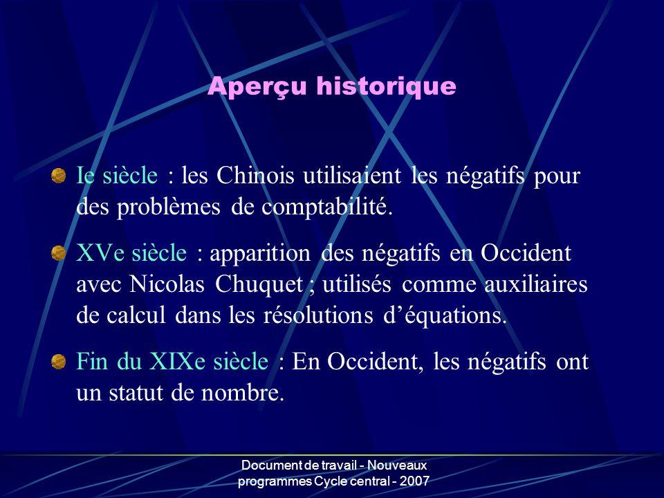 Document de travail - Nouveaux programmes Cycle central - 2007 Ie siècle : les Chinois utilisaient les négatifs pour des problèmes de comptabilité. XV