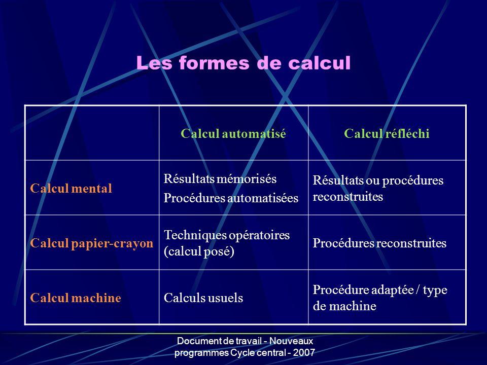 Document de travail - Nouveaux programmes Cycle central - 2007 Les formes de calcul Calcul automatiséCalcul réfléchi Calcul mental Résultats mémorisés