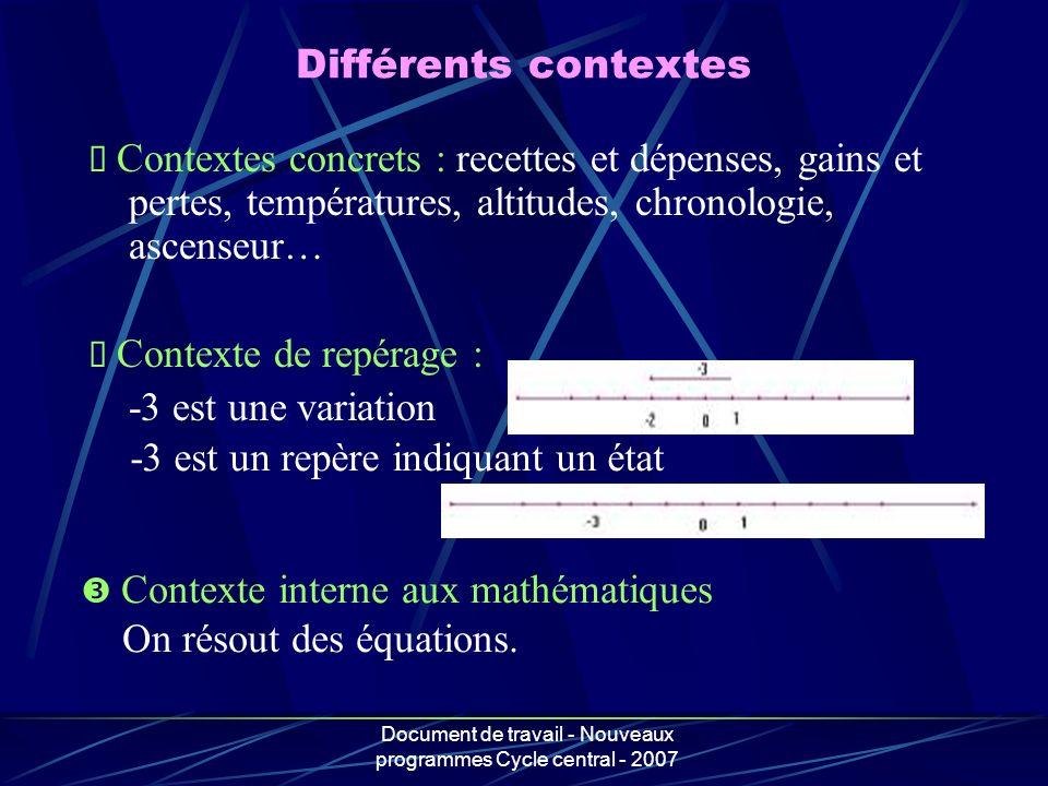 Document de travail - Nouveaux programmes Cycle central - 2007 Différents contextes Contextes concrets : recettes et dépenses, gains et pertes, tempér